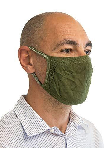 Relaxsan -  Set 3 [Verde] Bandas filtrantes Rostro Boca Nariz Lavables Reutilizables absorbentes Tejido bacteriostático