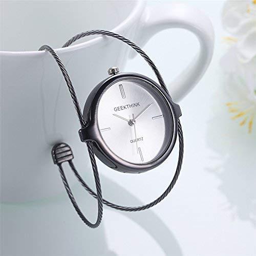 Armbanduhr Damen Quartz Analog Uhren Stahlband Langlebig Modische Armreif Schmuck(Grau)