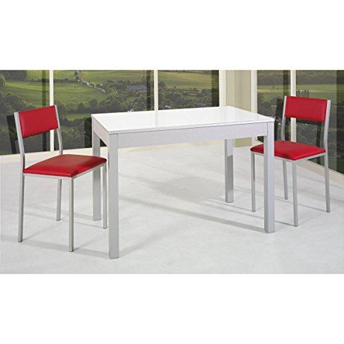 SHIITO - Mesa de Cocina Extensible de Carro 110x70 cm en Aluminio y Tapa de Cristal Blanco