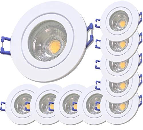 LED Bad Einbauleuchten 230V inkl. 10 x 7W LED LM Dimmbar Farbe Weiß IP44 Einbauspots Neptun Rund 3000K Warmweiß
