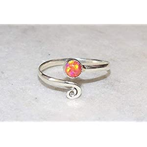 Orange Red Fire Opal Toe ring 925 Solid Sterling Silver