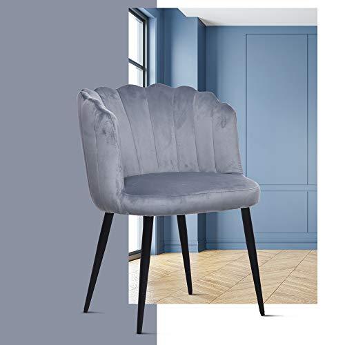 ERGOREAL - Silla de terciopelo para invitados de mediados de siglo moderna, sin brazos, con patas de metal negro para sala de estar (gris)