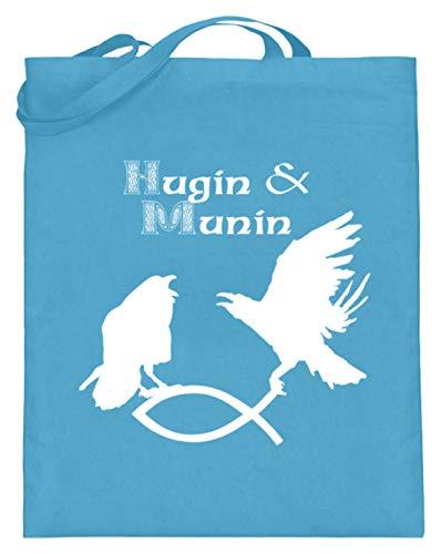 Hugin & Munin - Borsa in iuta con manici lunghi, motivo: corvo che afferrano il pesce, Blu (Azzurro), 38cm-42cm