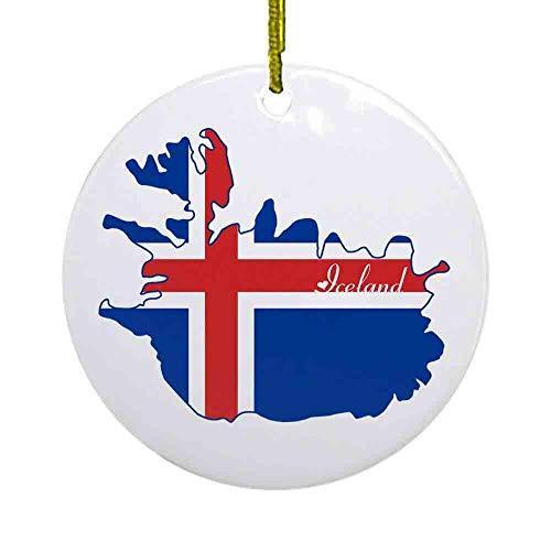 8 NBNWDHI Ceramic Ornaments - Cool Iceland Ornament (Round) Round Holiday Christmas Ornament| Cute Santa Gift| Xmas Tree Decoration 2.8in