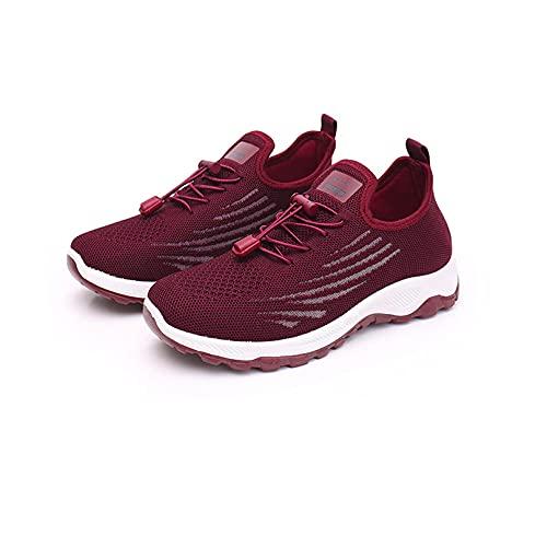 Zapatillas para Correr para Mujer Zapatillas de Deporte Informales de Verano,Zapatillas Ligeras para Caminar para Mujer (Red,US:9/EU:40)