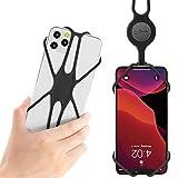 Bone Collection Handykette Universal Handy Lanyard, Flexibel Handy Tasche zum Umhängen, Handyband für iPhone 11 Pro Max X XR XS 8 7 Plus Samsung Huawei - Schwarz