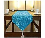Camino de mesa con borla, turquesa, 30,5 x 228,8 cm, con purpurina, color azul, camino de mesa brillante con lentejuelas, decoración del hogar, camino de mesa de boda