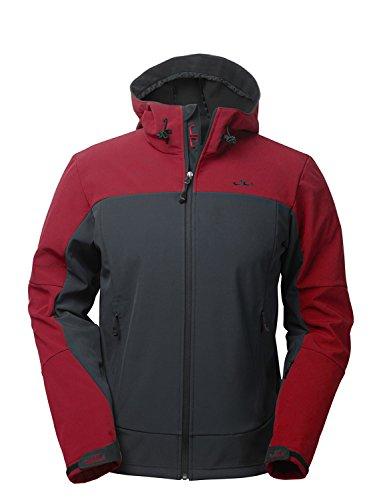 Jeff Green Herren Winddichte Wasserabweisende Atmungsaktive Softshell Jacke Kapuze Calais, Größe - Herren:S, Farbe:Mulberry Red