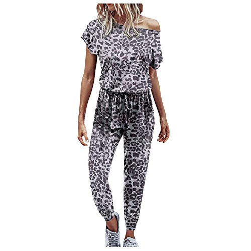 HolAngela Jumpsuit Damen U-Ausschnitt Kurzarm Lange Hose Mode Leopardenmuster Overall Jumpsuit Sommerhose Baggy Casual Weites Bein Playsuit