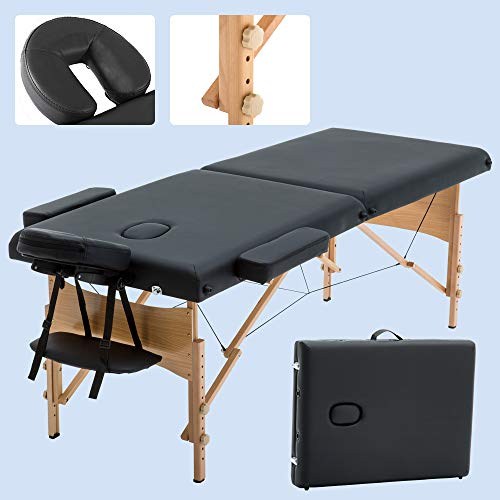 Portable Massage Table, Lightweight Folding Massage Bed Facial SPA Bed Tattoo Beauty Therapy Couch Bed W/Carry Bag 73 Inches Long 28 Inches Wide Adjust Height with Sturdy Wood Frame for Massage, Black