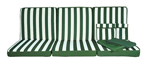 Stiliac 9601T312 Set Cuscini e Tettuccio Ricambio per Dondolo 4 Posti, Rigato Verde/bianco, 174x58x8 cm