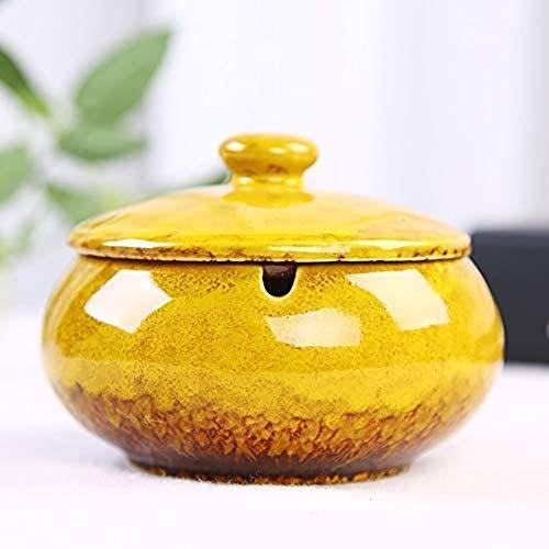 ZF Cenicero del cigarro, cenicero de cerámica China con una Cubierta Tabla té café Tabla Pequeño Decoración Apartamento Dormitorio Retro cigarro Humo y Smok,Yellow