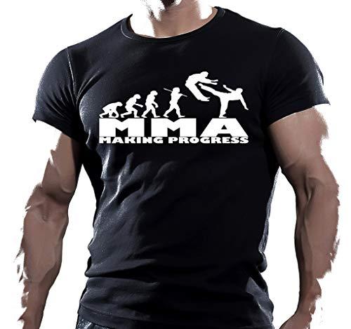 Arubas-uk T-shirt de musculation pour homme avec inscription « MMA Making Progress » - Noir - Medium