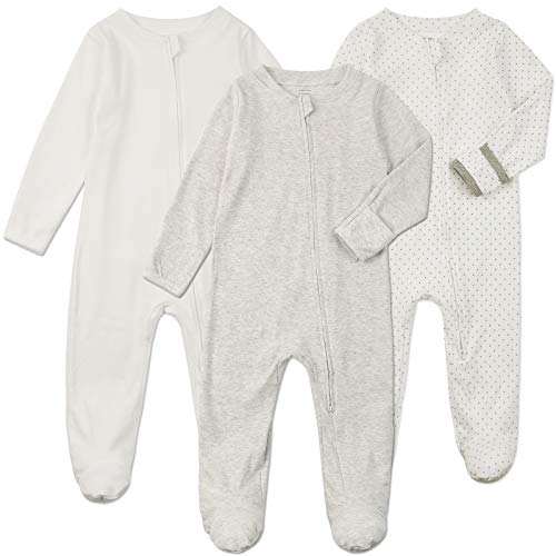 Baby Footed Pajamas Zipper with Mittens - 3 pcs Unisex Baby Cotton One-Piece Footies Onesie Pjs Sleep Play Outfit(White/Grey/Dot, 0-3Months)