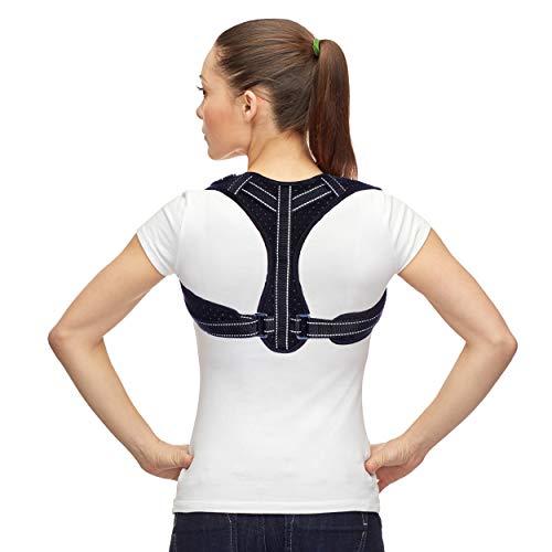BackFitX - Schultergurt Haltungskorrektur gegen Nackenschmerzen | Rückenstütze | Geradehalter | Haltungstrainer | Rückenbandage - UNISEX - individuell verstellbar (Brustumfang 70-105 cm)