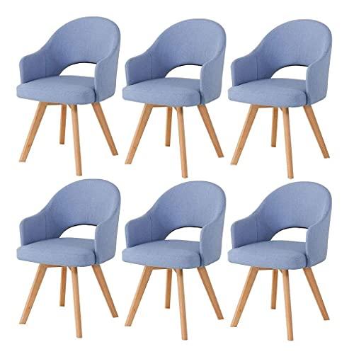 WYBW Silla de comedor para el hogar, silla decorativa tapizada, silla de comedor de cocina moderna, silla de sofá de ocio, taburete de maquillaje para salón de dormitorio de niña,Azul claro,6pcs
