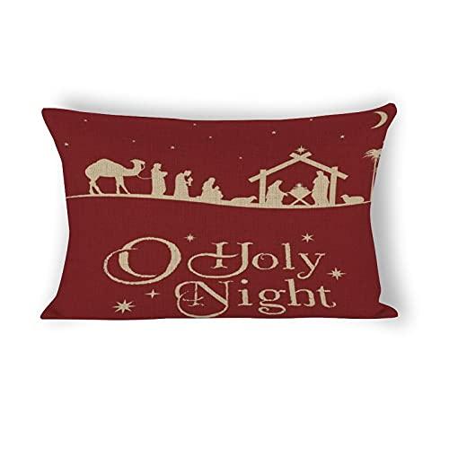 happygoluck1y Fundas de almohada lumbar, 12 x 20 cm, de algodón, rectangular, para decoración de casa de campo, sala de estar