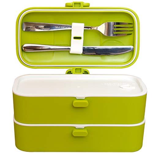 Veggycook Lunch Box Boîte à Repas bento Hermétique Couverts en Acier INOX Inclus 1200ml sans bpa (Vert)