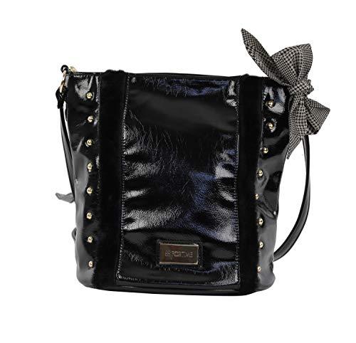 For Time, Bolso shopper grande de hombro cubo con tachuelas para Mujer, Negro, 29x26x16 cm (Zapatos)