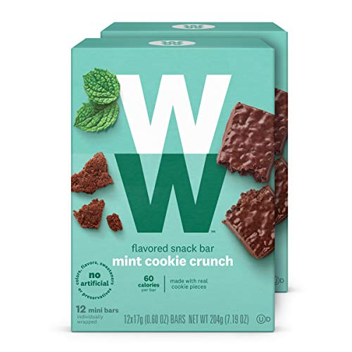 WW Mint Cookie Crunch Mini Bar - Snack Bar, 2 SmartPoints - 2 Boxes (24 Count Total) - Weight Watchers Reimagined