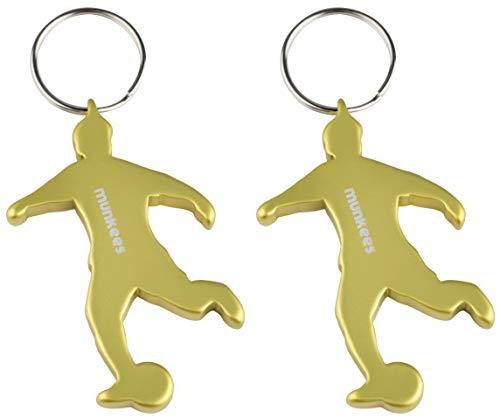 munkees 2 x Schlüsselanhänger Fussball I Flaschenöffner I Fußball Fanartikel I Geschenk Artikel, Doppelpack Gelb, 34902