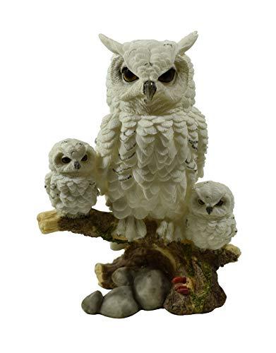 Unbekannt Eule mit 2 Baby Schneeeule Paar Uhu Skulptur Deko Garten Tier Vogel Figur Statue