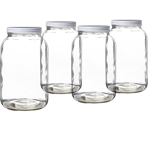Pakkon Wide Mouth Glass Mason Jar with Metal Lid/Ferment & Store Kombucha Tea or Kefir/Use for Canning, Storing, Pickling & Preserving Dishwasher Safe, Airtight Liner Seal, 1 gallon (1 Pack)