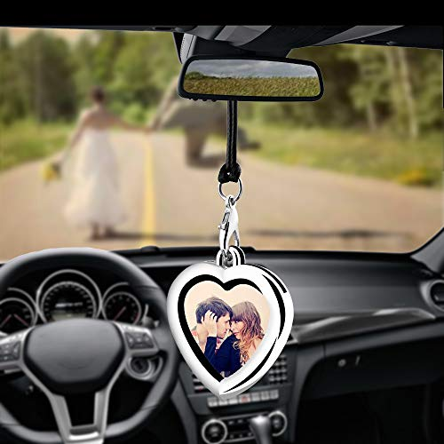 Car Auto Rearview Mirror Hanging Ornament Beautiful Photo Frame Locket Photo Frame Metal for Car Mirror (Heart shaped)