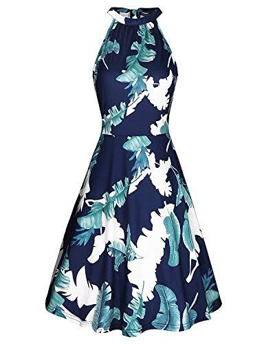 OUGES Women's Halter Neck Floral Summer Casual Sundress(Floral-6,M)