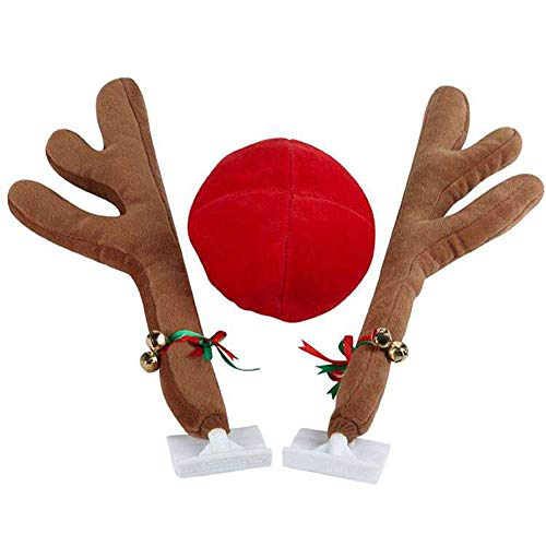 Abnaok Auto Rentier Kostüm Weihnachtsdeko, Auto Weihnachtsdeko Autokostüm Reindeer mit Rote Nase für Truck Van SUV