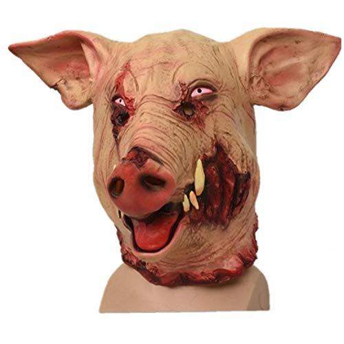 Zonfer 1pc Schweinekopf Halloween Horror Maske Scary Tierkopfbedeckung Halloween Dekoration Big Fangs Wildschwein Halloween Cosplay Schwein Scary Decor