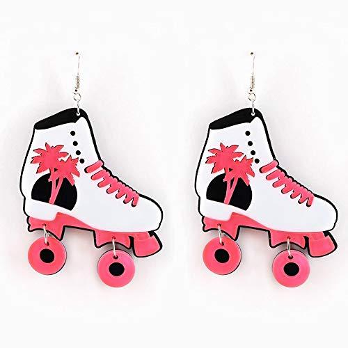 ZSCZQ Pendientes de Gota de Patines de Hielo Rosados Bonitos a la Moda para Mujer, niña, acrílico, árbol de Coco, Patines geniales, Pendientes, joyería, Regalos, Rosa