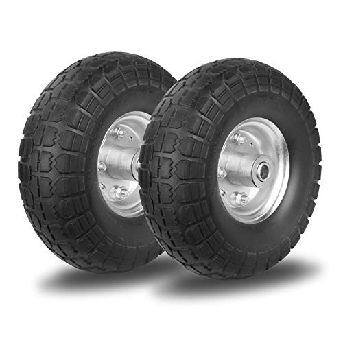 WINWEND 10' Flat Free Tires with 5/8' Center Bearings, Solid Rubber Tires Wheels for Hand...