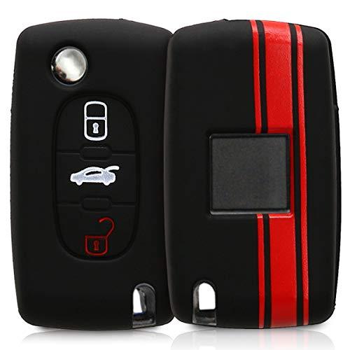 kwmobile Autoschlüssel Hülle kompatibel mit Peugeot Citroen 3-Tasten Autoschlüssel - Schlüsselhülle Rallystreifen Sidelines Rot Schwarz