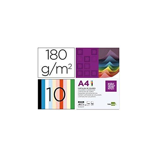 Liderpapel Cartulina A4 180G/M2 10 Colores Surtidos Paquete De 100