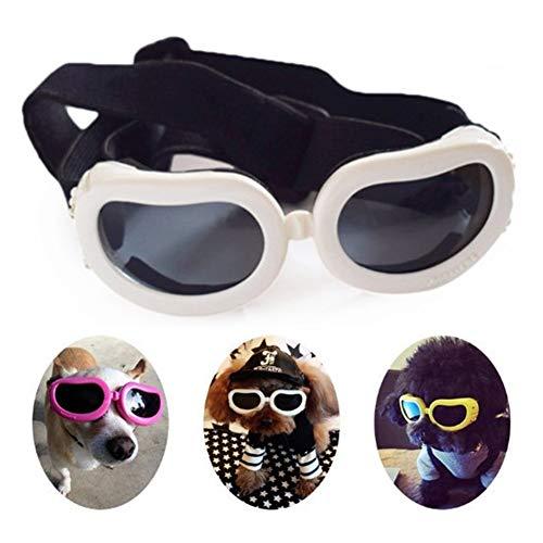 lffopt Hundebrille Für Kleine Hunde Hundesonnenbrille Schutzbrille Gläser für Katzen Hundebrille Augenschutz wasserdichte Hundebrille UV-Brille für Hund White