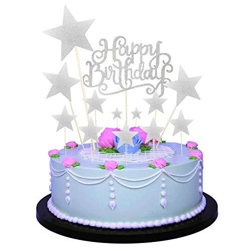 Allazone Decoraciones para Tarta, 1 Pz Plata Happy Birthday y 12 Pz Plata Estrellas, Happy Birthday Topper Decoración para Cumpleaños Baby Shower Fiesta Temática