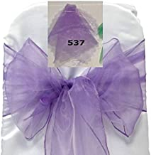 mds Pack of 10 Organza Chair Sashes/Bows sash for Wedding or Events Banquet Decor Chair Bow sash -Lavander