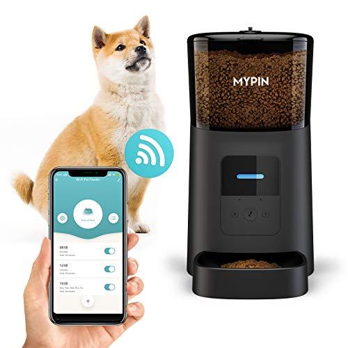 MYPIN 猫犬用 自動給餌器小型ペット プログラム可能なフードディスペンサータイマー 最大6食/日までのポーションコントロール 音声レコーダー 低フードアラーム 赤外線検出 (黒)