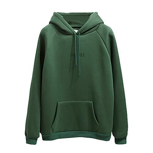 Xmiral Damen Hoodie Polyester Langarm Brief Drucken Pocket Sweatshirt Pullover Tops Bluse (L,Grün)