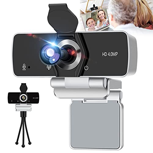 IPXOZO 2K Webcam with Microphone,4MP HD Webcam USB Web Camera for Computer & Desktop,HD Web Cam Video Camera with Privacy Cover & Tripod,Laptop Desktop PC Camera for Video Conference Gaming Streaming