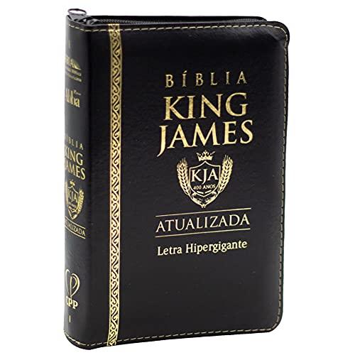 Bíblia King James Atualizada   Bkja   Zíper   Letra Hipergigante   Capa Pu Preta
