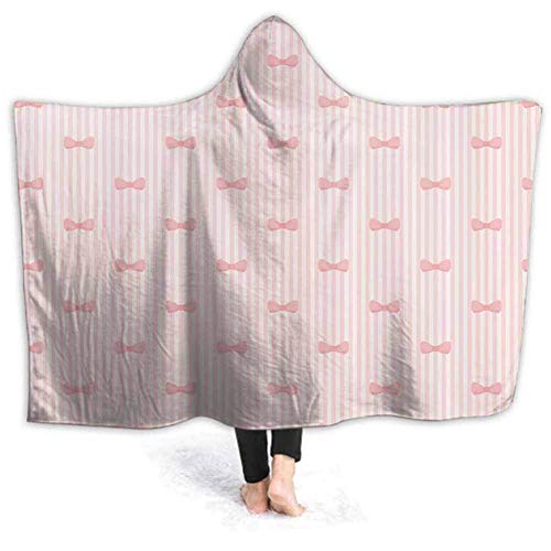 Xarchy Wearable Blanket Hoodie-Plush Warm Warmet Vertical Stripe Motifs Fluffy Blankets for Bed Couch Travel, Throw Blankets 80W by 60H inches (with Hooded)