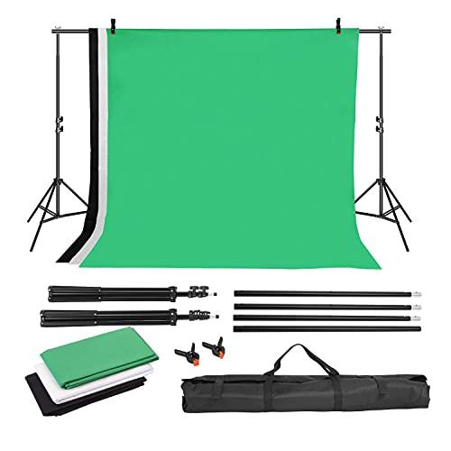 2 x 3m Fotohintergrund Ständer Fotografie verstellbar Hintergrund mit 1.6 x 2m 3 Fotoleinwand weiß, schwarz, Greenscreen mit Ständer, waschbar und...