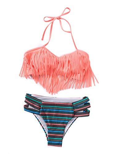 XUNYU Girls Swimsuit Falbala High Waisted Bathing Suit Halter Neck Bikini Swimwear Tankini Tassels Pink 2-3 Years