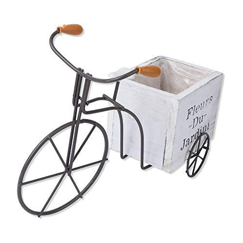 Samine Macetero rústico para bicicleta, para plantas, jardín, exteriores, color blanco, grande, blanco