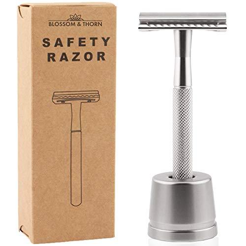 Rasierhobel Herren | Safety Razor mit Ständer und Rasierklinge | Zero Waste Rasierer (Silber)