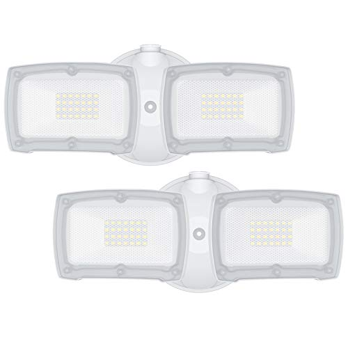 LEPOWER Dusk to Dawn LED Flood Light, 3000LM Outdoor Security Light with Photocell, 28W, 5500K, IP65 Waterproof, 2 Heads Exterior Flood Light for Garage, Backyard - 2 Pack