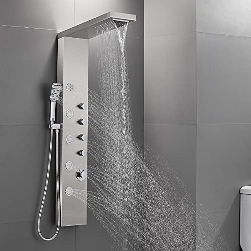 ROVATE Rainfall Waterfall Shower Head Shower Panel System, Stainless Steel Bathroom Shower Panel Tower with 5 Body Sprays and 3 Sets Handheld Shower, Shower Column Wall Mount, Delicate Brushed Finish