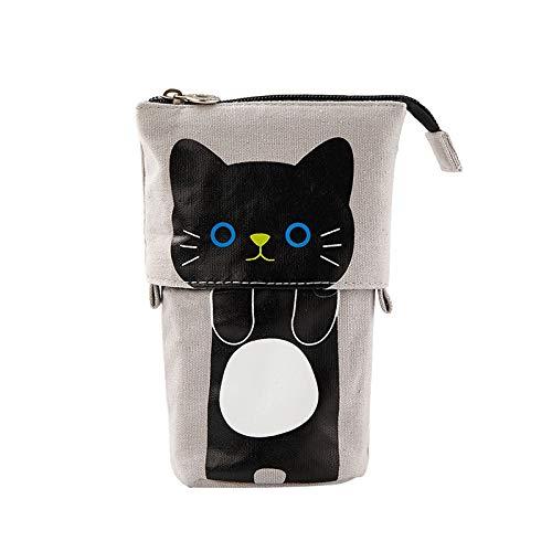 Estuche de lona retráctil creativo lindo gato escolar estuche grande papelería bolsa lindo lápiz estuche regalo niños lápiz tipo E